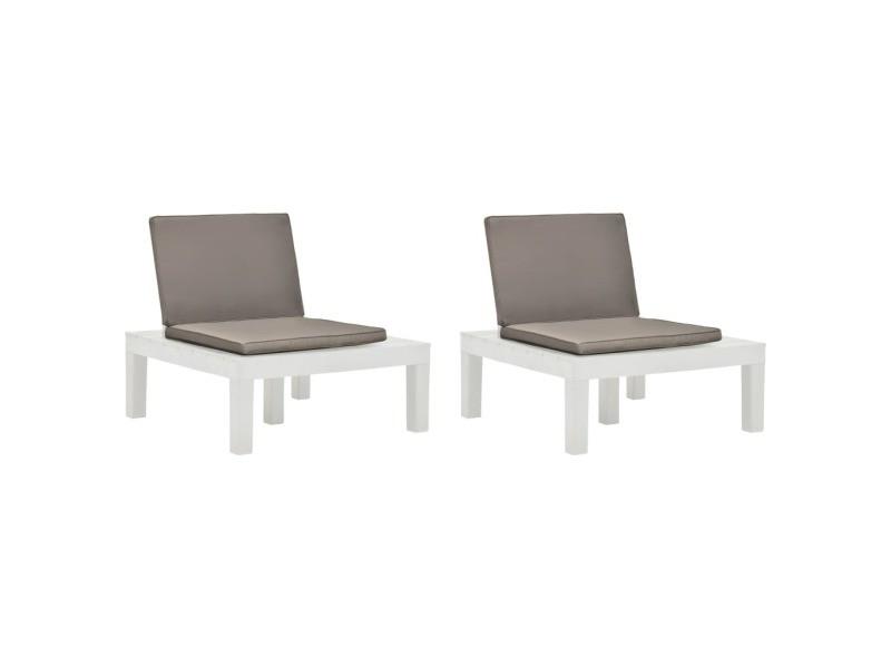 Esthetique sièges de jardin reference pretoria chaises de salon de jardin et coussins 2 pcs plastique blanc