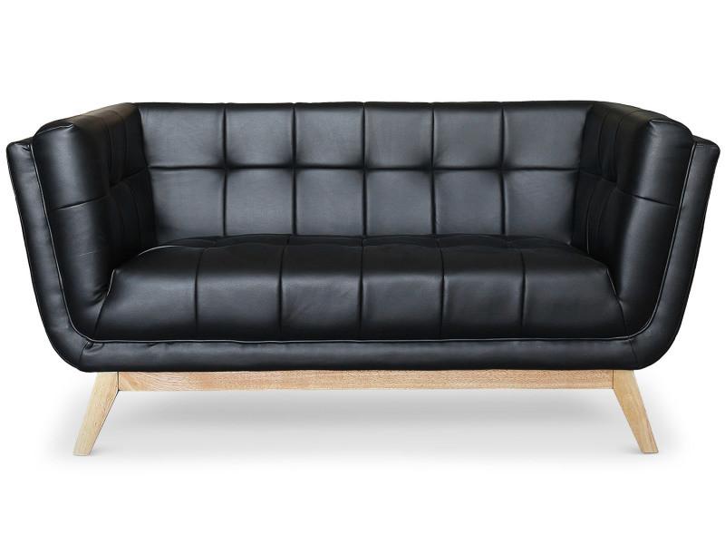 canap scandinave 2 places owen noir vente de menzzo conforama. Black Bedroom Furniture Sets. Home Design Ideas
