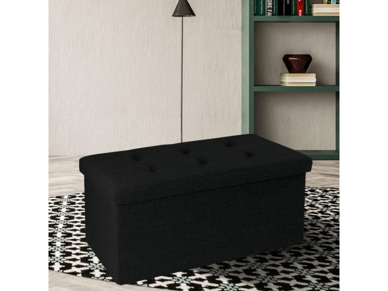 banc coffre rangement tissu noir 76x38x38cm pliable vente de id market conforama. Black Bedroom Furniture Sets. Home Design Ideas