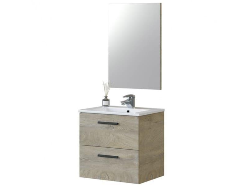 Meuble sous vasque de salle de bain suspendu 60 cm avec 2 tiroirs + miroir - hauteur 57 x longueur 60 x profondeur 45 cm