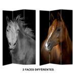 Paravent imprimé chevaux 2 faces 120x180cm