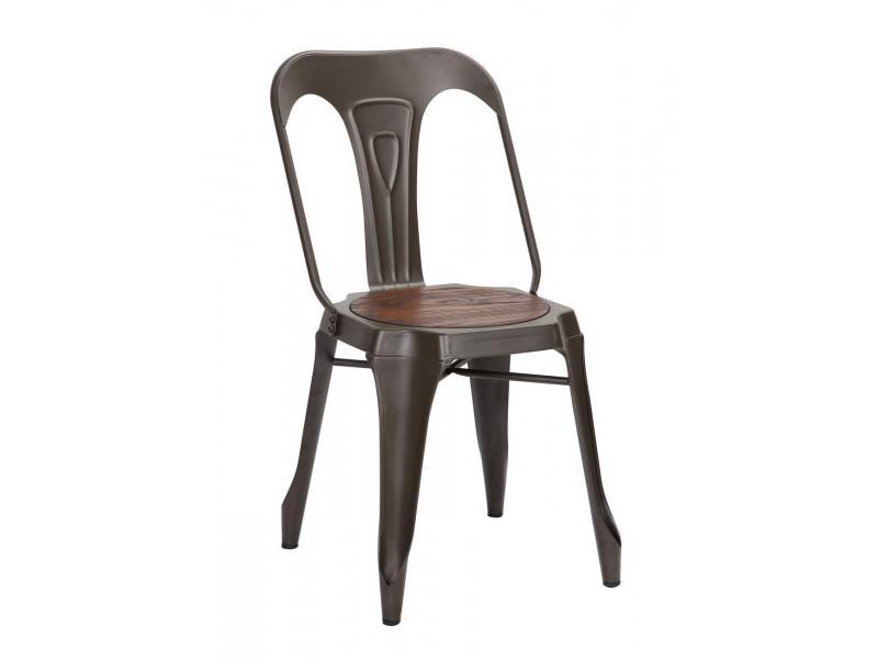 Nevada - chaise de repas acier bronze / bois foncé