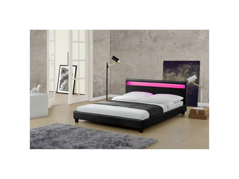 le valentin noir cadre de lit led en simili et sommier 140 x 190 cm 21832 vente de lit. Black Bedroom Furniture Sets. Home Design Ideas