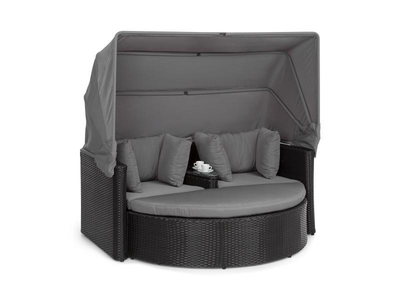 Blumfeldt heartland canapé lounge de jardin 2 places avec tabouret , table & parasol pliable , charge 160kg - polyrotin - gris GDW8-Heartland-Grey