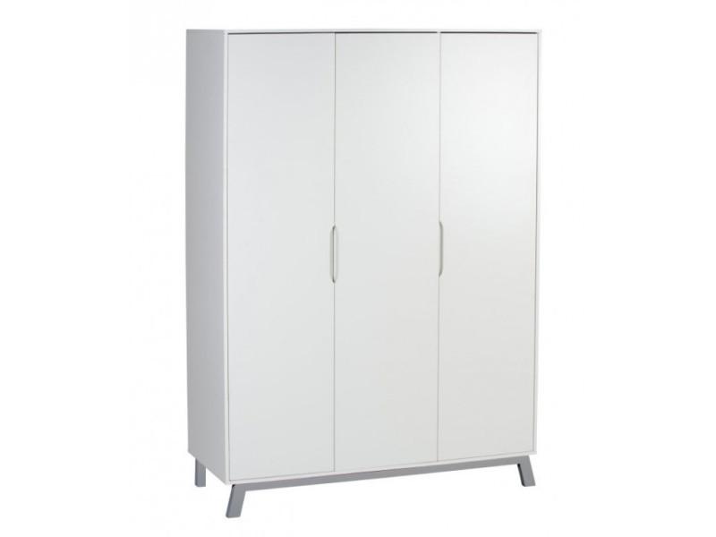 Armoire bébé 3 portes bois laqué blanc et pieds hêtre gris florence l 135 x h 197 x p 53 cm 06 233 02 70