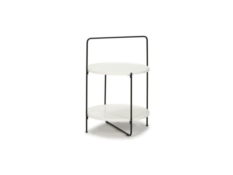 Table d'appoint blanche bois/métal - sate - l 45 x l 45 x h 68 - neuf