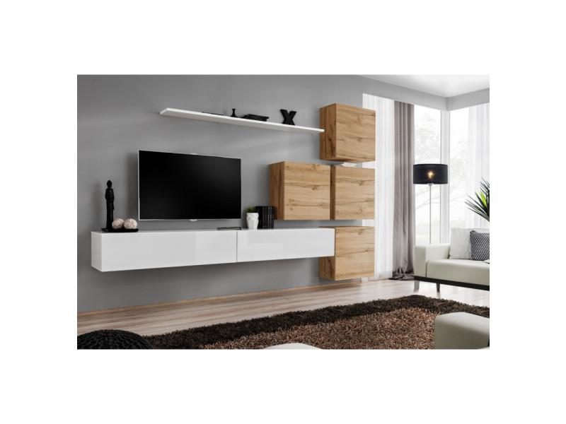 Ensemble mural - switch ix - 4 vitrines carrées - 2 bancs tv - 1 étagère - bois et blanc - modèle 2