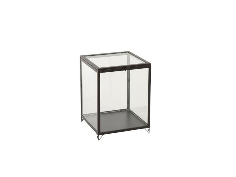 Boite en verre rectangulaire verre/metal noir h 51,5 cm