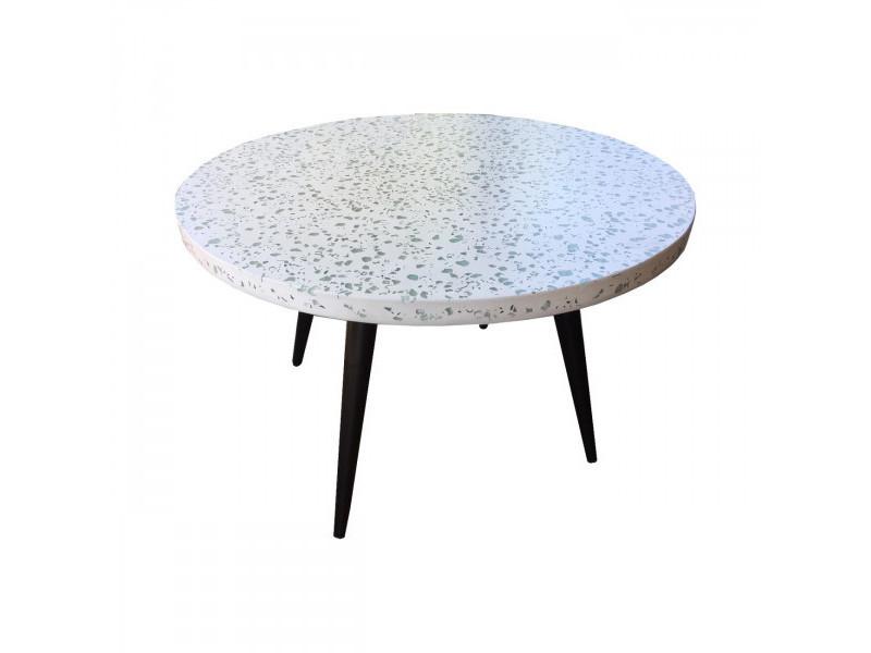 Terrazzo - table basse terrazzo blanc l70