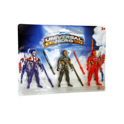 Figurines de ninjas : 3 ninjas universal hero dont 1 avec motif étoile