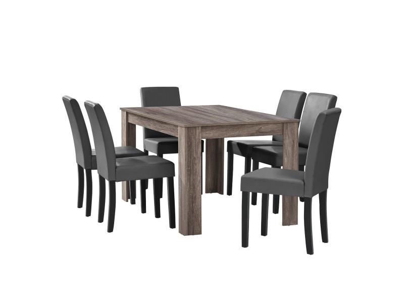 [en.casa] table à manger en chêne ancien avec 6 chaises gris-foncé cuir-synthétique rembourré 140x90