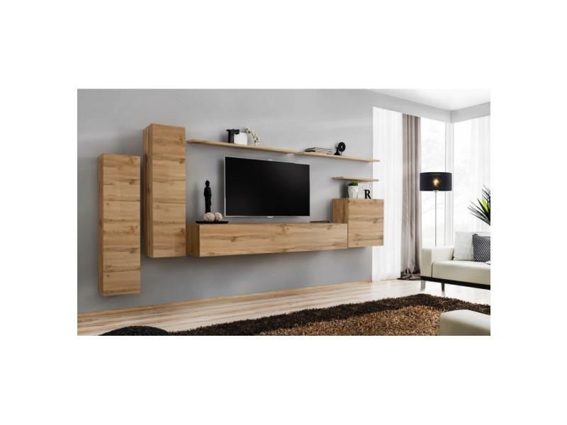 Ensemble mural - switch i - 3 vitrines verticales - 1 banc tv - 3 étagères murales - bois