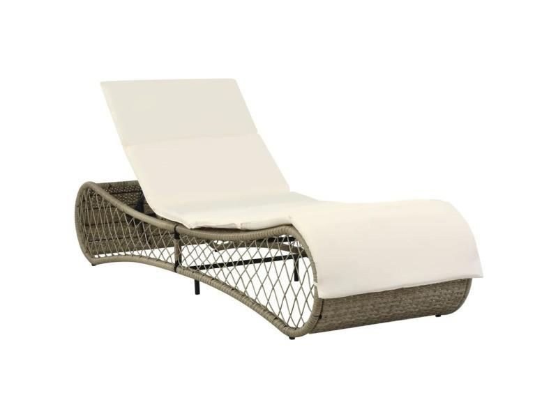 Stylé sièges d'extérieur gamme kigali chaise longue avec coussin gris/beige résine tressée