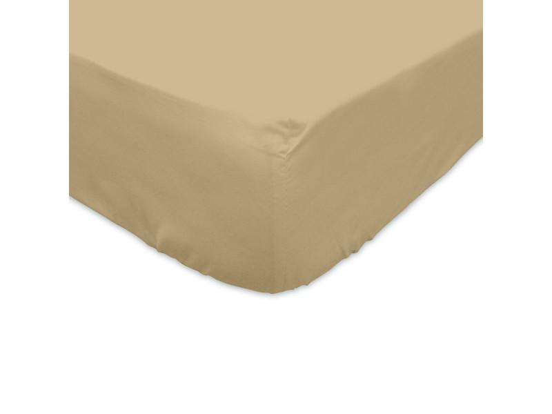 Drap housse 140x200cm 100% coton taupe
