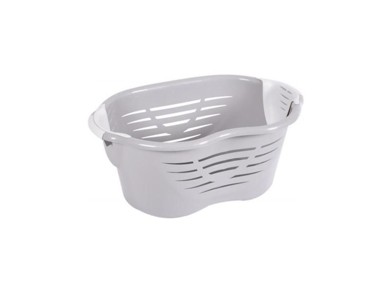 Eda plastique corbeille a linge confort 60 l avec rangement pinces a linge - blanc cérusé - 72 x 48,5 x 30,2 cm