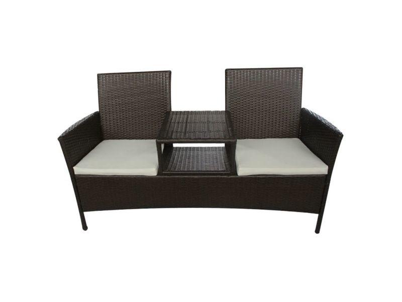 Icaverne - ensembles de meubles d'extérieur collection banc à deux places avec table basse rotin synthétique marron