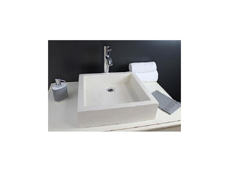Aqua+ - vasque en terrazzo 40x40 crème - timbre