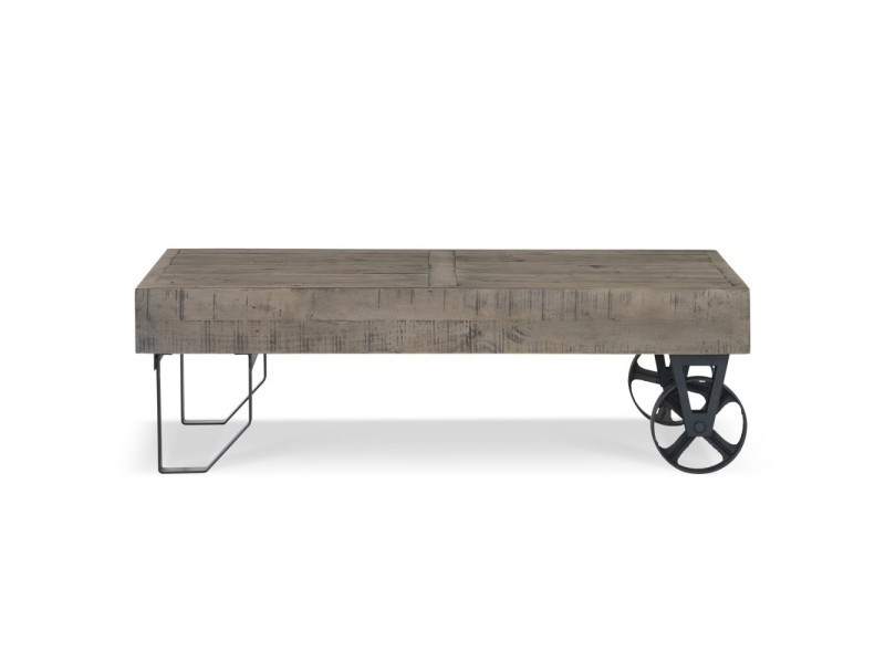 Table basse roulettes bois 130x75x40cm - marron - décoration d'autrefois