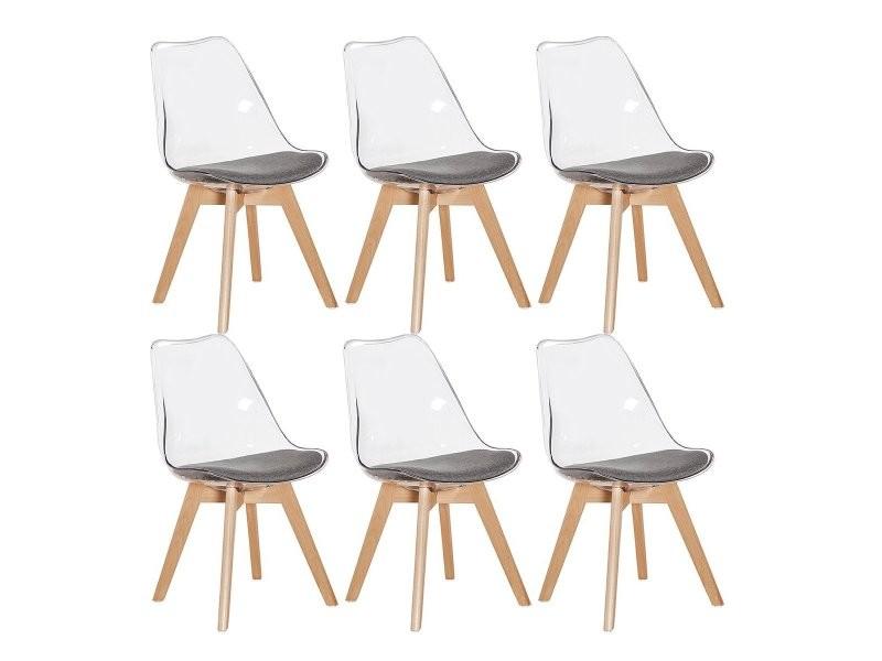 Lot de 6 chaise transparente scandinave pour salle a ...