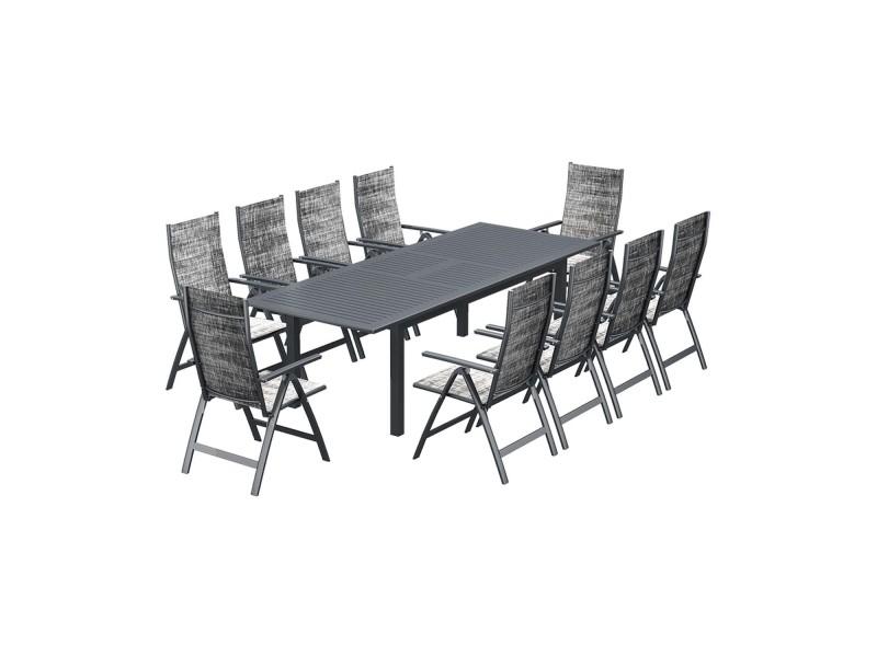 Le Merry Salon De Jardin Table Extensible Et 10 Chaises En