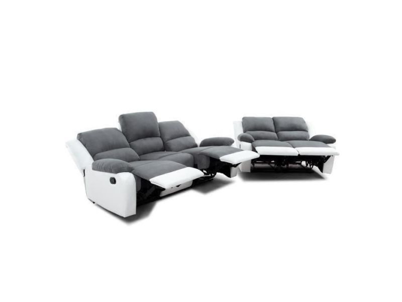 Ensemble de canapés relaxation 3 places et 2 places microfibre grise / simili cuir blanc detente 9121GRBL