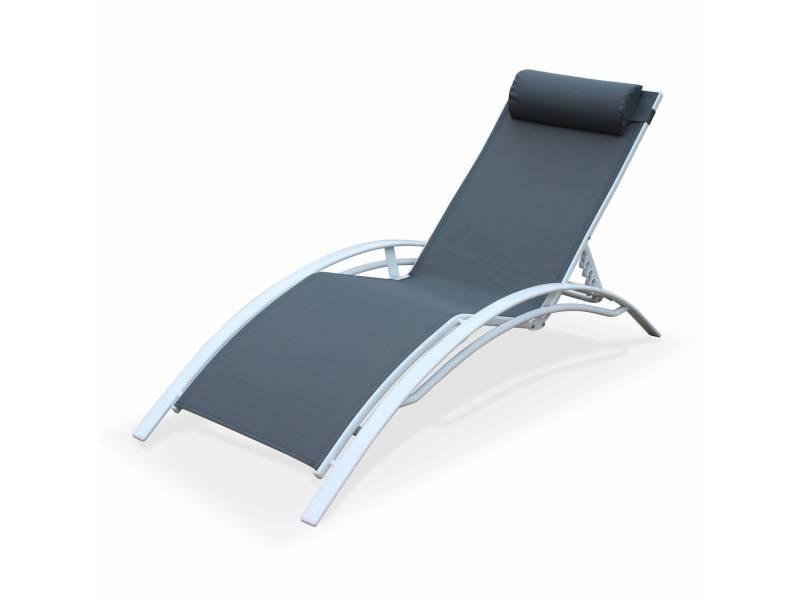 Bain de soleil en aluminium et textilène - louisa gris/blanc - transat