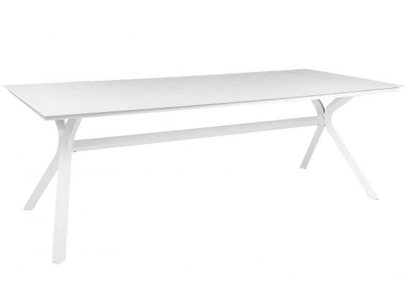Table de jardin rectangulaire en aluminium blanc - dim : 220 x 90 x 75cm -pegane-