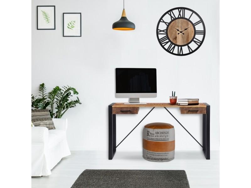 Table console womo-design naturel/noir, 140x40 cm, avec 2 tiroirs, en bois d'acacia massif et structure en métal thermolaqué 390003219