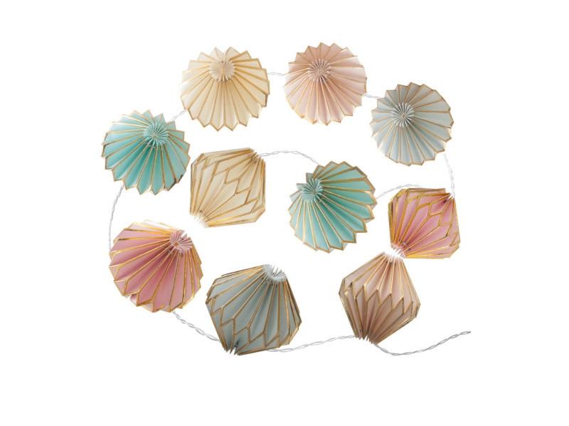 Atmosphera - guirlande 10 led origami pastels à piles