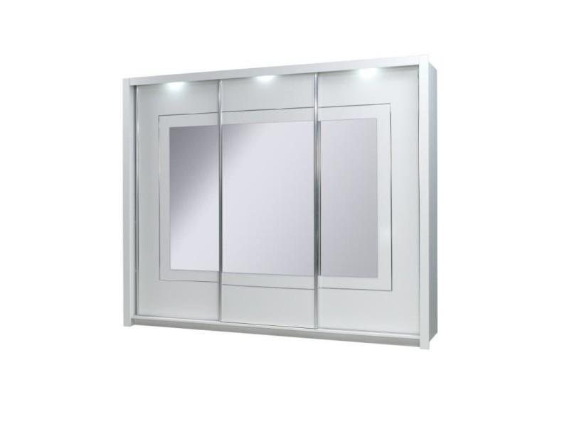 Armoire design trois portes coulissantes panarea. Miroirs inclus. Eclairage led intégré. Finition chrome