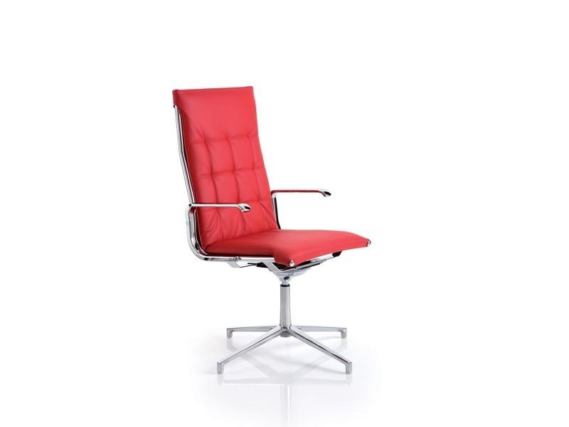 Fauteuil de bureau design cuir rouge couture pied pivotant