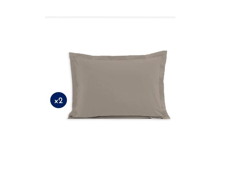 Lot de 2 taies d'oreiller - rectangulaire 50x70 cm - coton - beige 61346