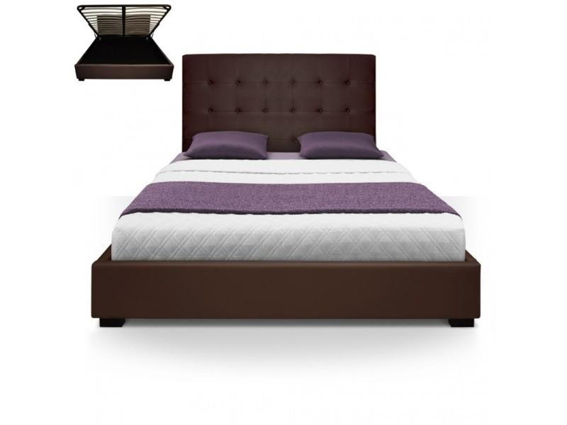 Lit Complet Avec Sommier Relevable Sleepfield Marron 140x190