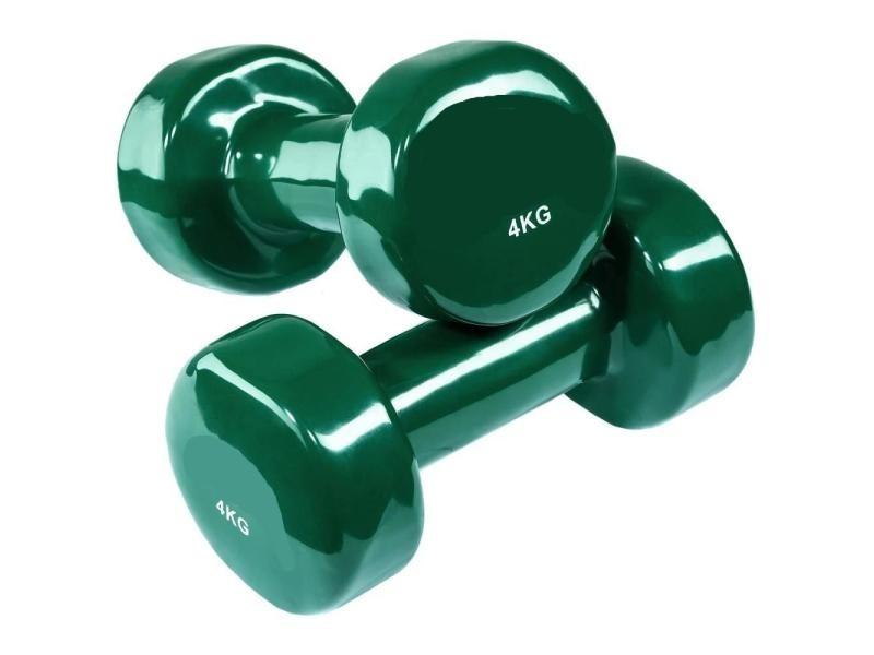 2 haltères vinyle fitness poids 2 x 4 kg sport fitness musculation helloshop26 0708026