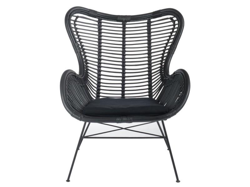 fauteuil rotin noir kohtao l 80 x l 70 x h 90 neuf. Black Bedroom Furniture Sets. Home Design Ideas