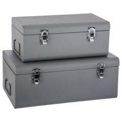 Lot de 2 cantines métal grises forme valise