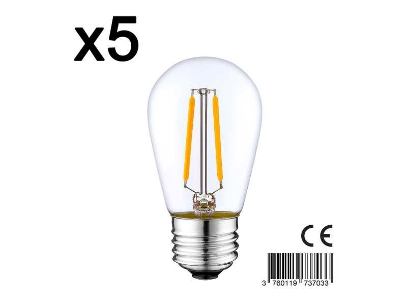 Lot de 5 ampoule filament led e27 blanc chaud xena e27 s45 2w h10cm