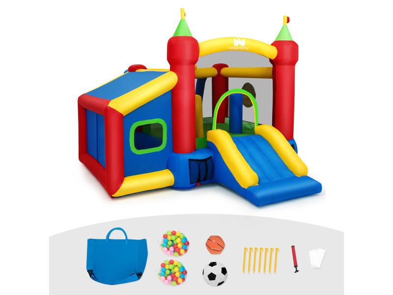 Giantex château gonflable aire de jeux en nylon et oxford avec toboggan panier boules et sac pour enfants 380 x 305 x 215 cm souffleur non inclus