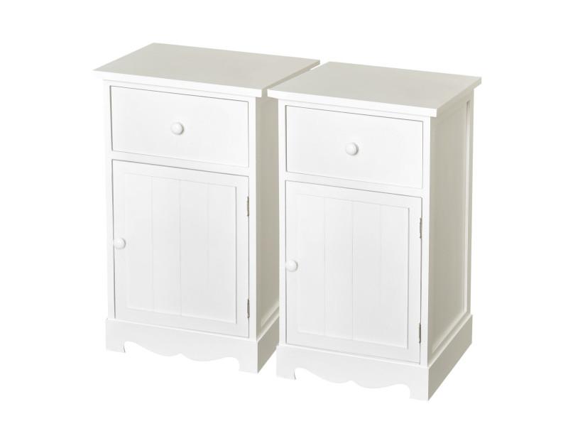 Lot de 2 tables de chevet tables de nuit 35l x 30l x 59h cm tiroir + placard bois paulownia ...