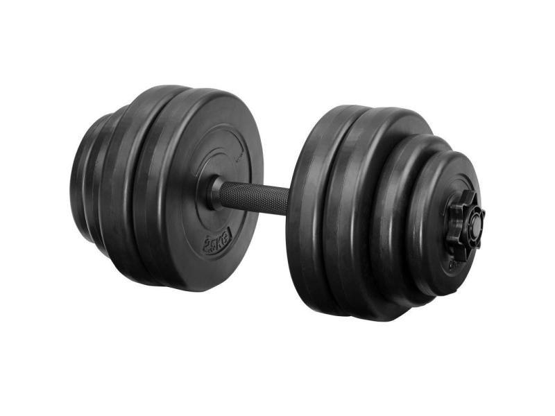 1 haltère court et poids haltère de musculation 15 kg helloshop26 0708035