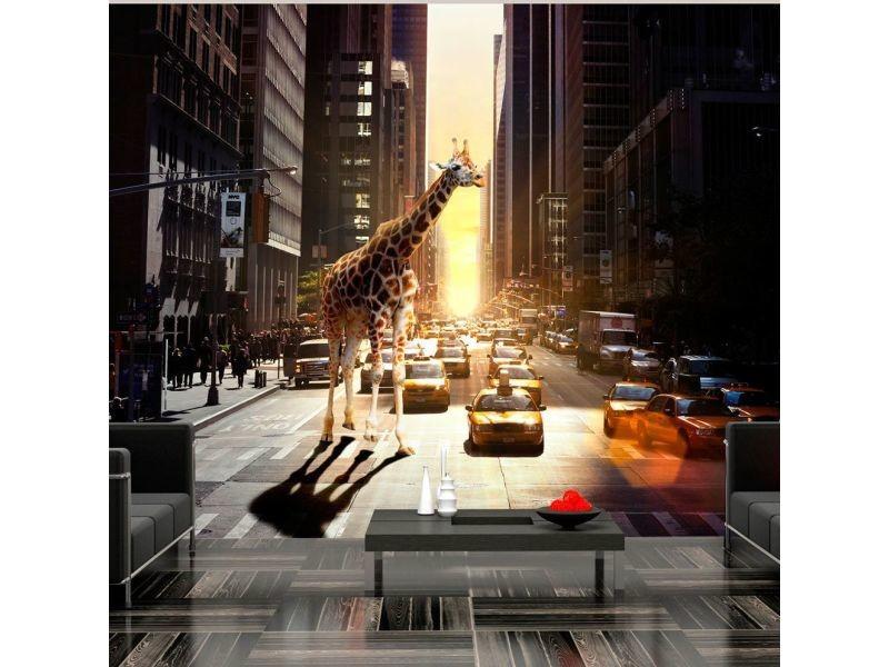 Papier peint girafe à new york A1-XLFTNT0845