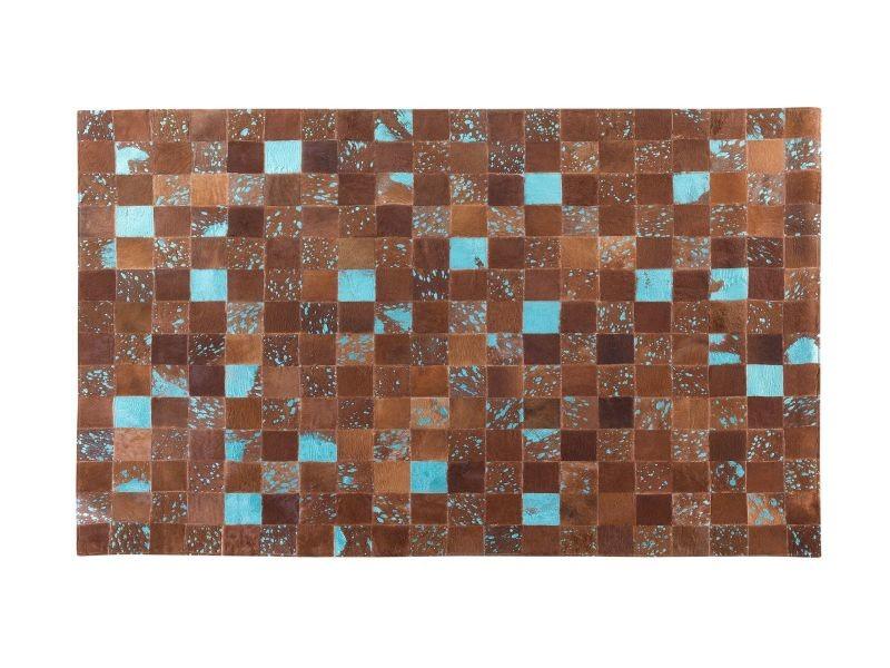Tapis marron et bleu en peau de vache 140 x 200 cm aliaga 38639 ...