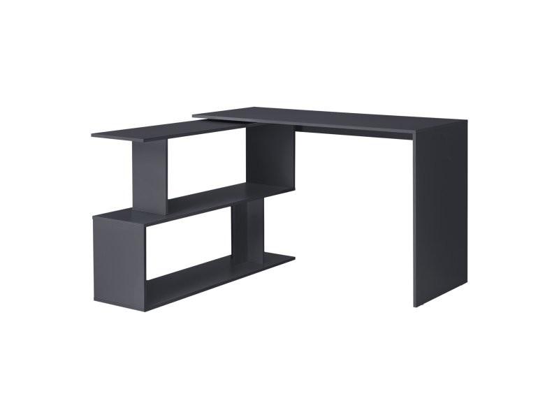 Bureau gigogne design avec partie étagère bureau de coin extension panneau de particules mélaminé 77 x 120 x 50 cm gris foncé helloshop26 03_0004708