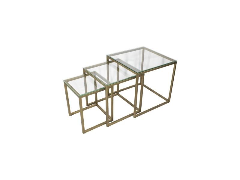 Mingus lot de 3 tables basses carrées doré