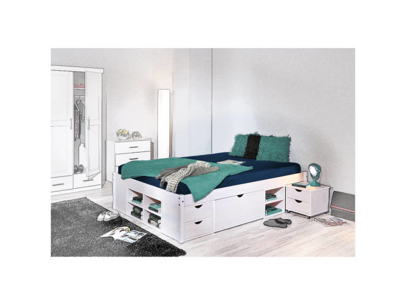 lit double pour adulte avec tiroirs gain de place multi rangement 140x200 cm sommier inclus. Black Bedroom Furniture Sets. Home Design Ideas