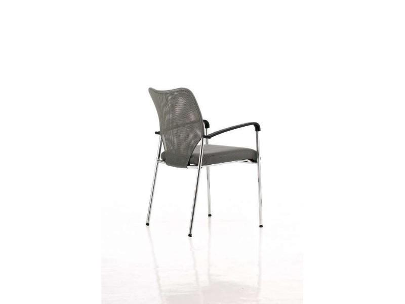 Chaise visiteur bureau gris pieds chrom avec accoudoir - Chaise avec accoudoir conforama ...