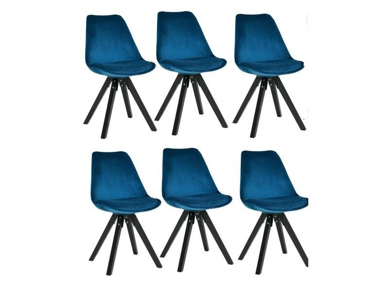 Set De 6 Chaises De Salle A Manger Retro En Tissu Velour Bleu Pieds