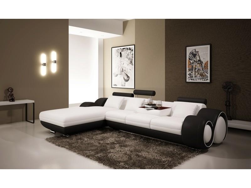 Canapé d'angle avec méridienne blanc et noir oslo (angle gauche)-