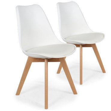 lot de 2 chaises style scandinave bovary blanc vente de menzzo conforama. Black Bedroom Furniture Sets. Home Design Ideas