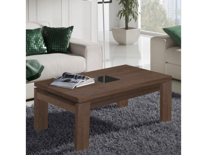Table basse chêne foncé relevable - dilia - l 100 x l 50 x 44/59 - neuf